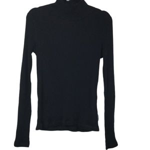 Alexander Wang Ribbed Knit Turtleneck Top in Black